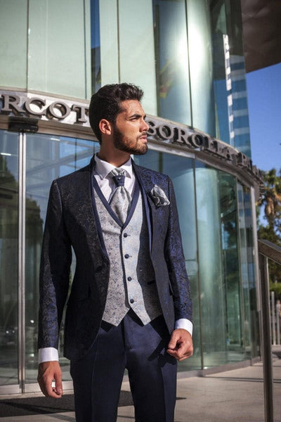 One Button Navy Blue Tuxedos