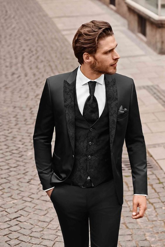 4 Piece Black Suit with Paisley Lapel