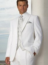 Two Button White Lapel Suit