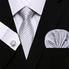 Load image into Gallery viewer, Men`s Tie 100% Silk Red Plaid print Jacquard Woven Tie + Hanky + Cufflinks Sets