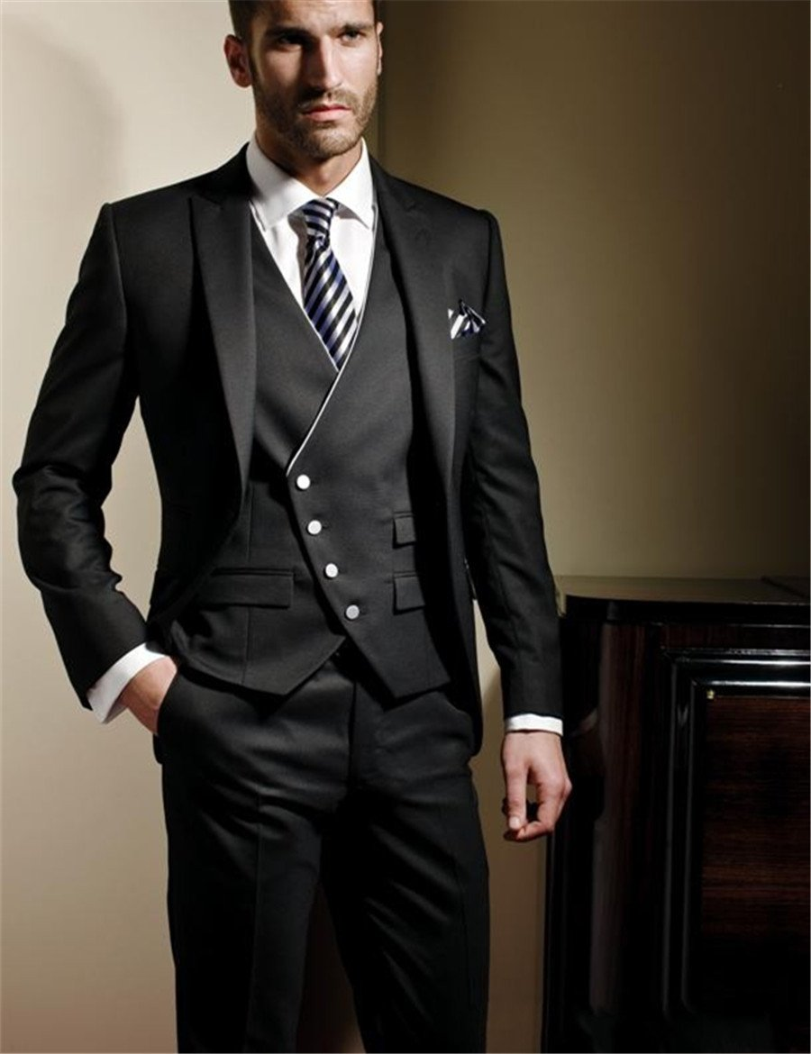 (Jacket+Vest+Pants) Mens Black Suit With Pants