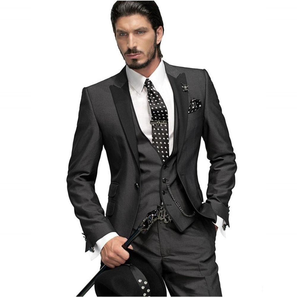 Classy Three Piece Peaked Lapel Mens Suit