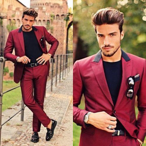 Wine Red Peaked Lapel Mens Suit