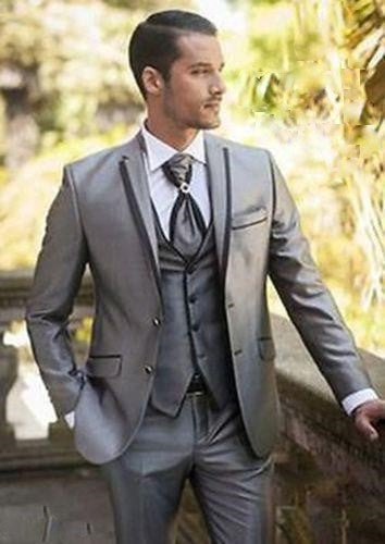 Custom Made Silver Mens Slim Suit