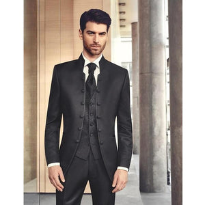 Stand Collar Slim Fit Notched Lapel Black Suit