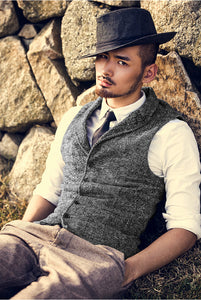 Woolen Cotton Single Breasted Vintage Vest