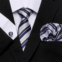 Load image into Gallery viewer, 100% Silk Jacquard Woven Tie + Hanky + Cufflinks Sets