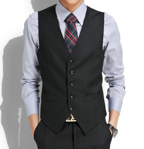 Grey / Black High-End Men's Business Casual Suit Vest