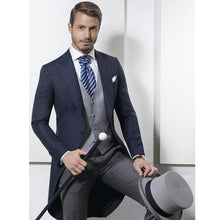 Load image into Gallery viewer, Custom Made Classic Navy Blue Tailcoat Suit (Jacket+Pants+Vest)