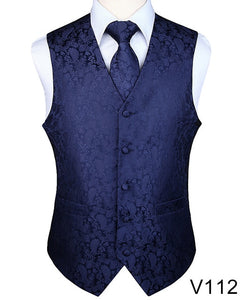 Men's  Paisley Jacquard Waistcoat Vest Sets (Tie and Pocket Square Included) 14 Colors