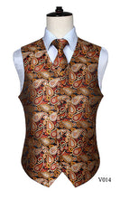 Load image into Gallery viewer, Men's Classic Paisley Jacquard Waistcoat / Pocket Square Set