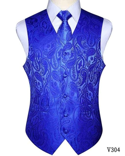 Classic Paisley Pocket Square Tie Vest Set