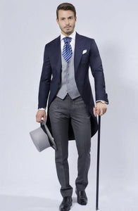 Swallow-Tailed Peak Lapel One Button Men Suit