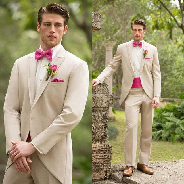 Beige Peaked Lapel One Button Tailor Made Suit