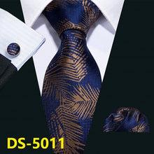 Load image into Gallery viewer, Gold Navy Striped 100% Silk Tie