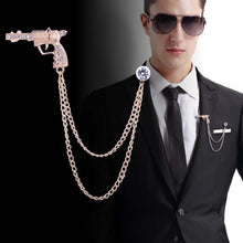 Load image into Gallery viewer, Pistol  Brooch with Chain