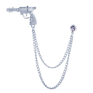 Pistol  Brooch with Chain
