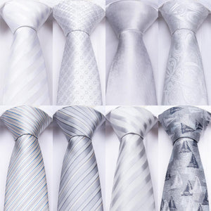 Designer 18 Colors White Sliver Men's Ties Set