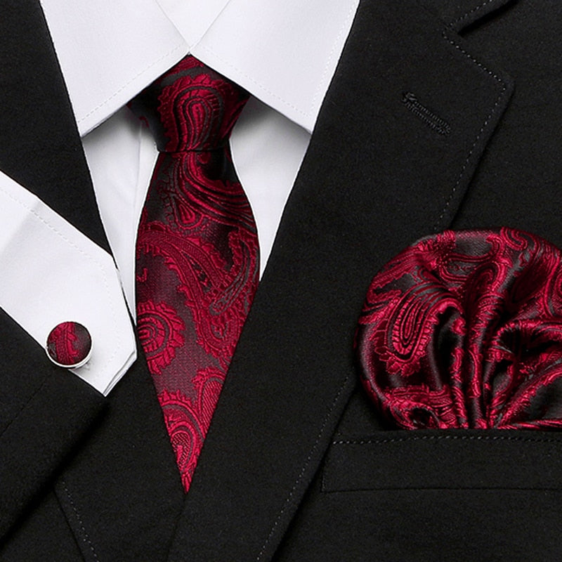 Men`s Tie 100% Silk Red Plaid print Jacquard Woven Tie + Hanky + Cufflinks Sets