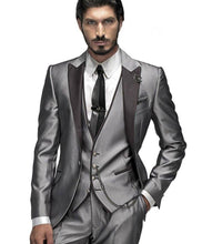 Load image into Gallery viewer, Custom Men's Silver and Gray 3 Piece Suit