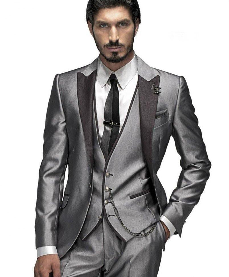 Custom Men's Silver and Gray 3 Piece Suit