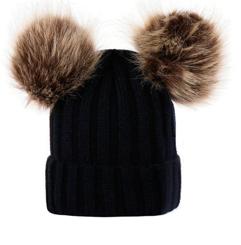 Double Pom Pom Beanie (Black)