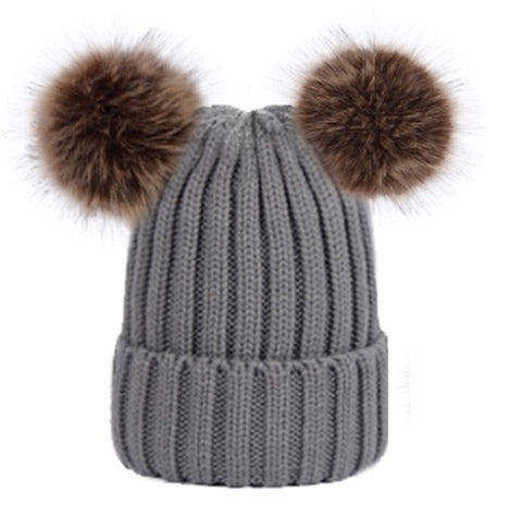 Double Pom Pom Beanie (Grey)
