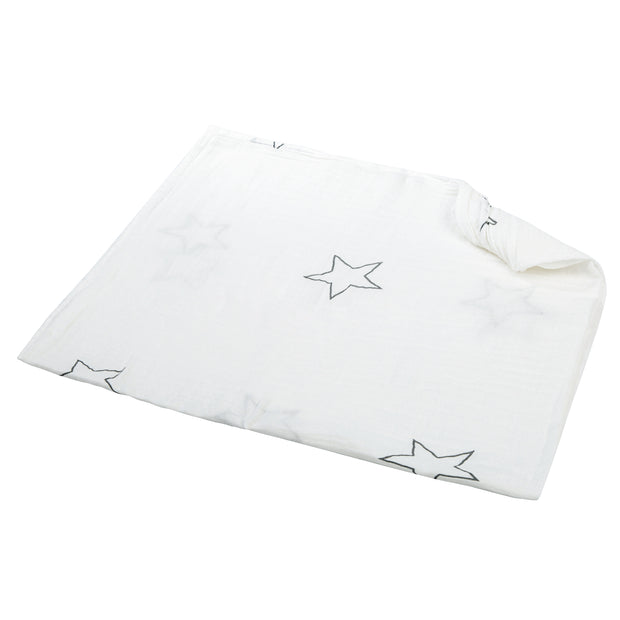 100% Organic Cotton Muslin Swaddle Blankets - WHITE STAR