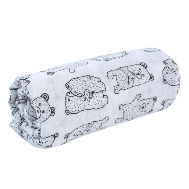 100% Organic Cotton Muslin Swaddle Blankets - CUDDLY BEAR