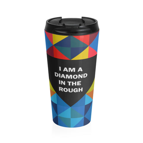 Diamond in the rough stainless steel travel mug