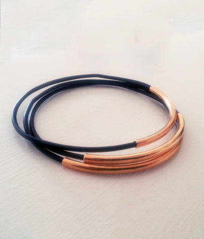 Sleek Black or Brown Vegan Leather and Gold Bangles (set of 3)