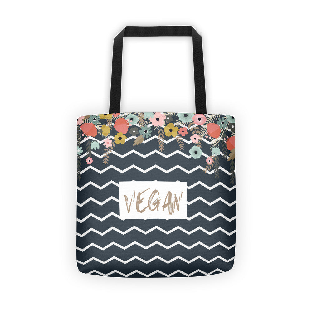 Vegan flowers tote bag