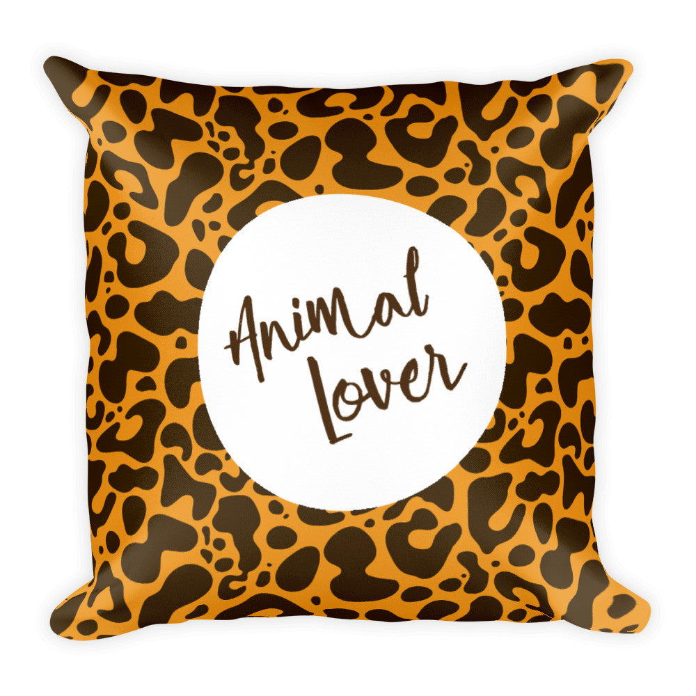 Animal lover leopard print square pillow
