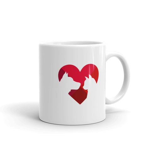 Animal lover heart mug
