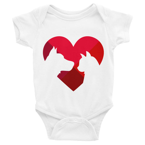 Animal lover heart infant bodysuit