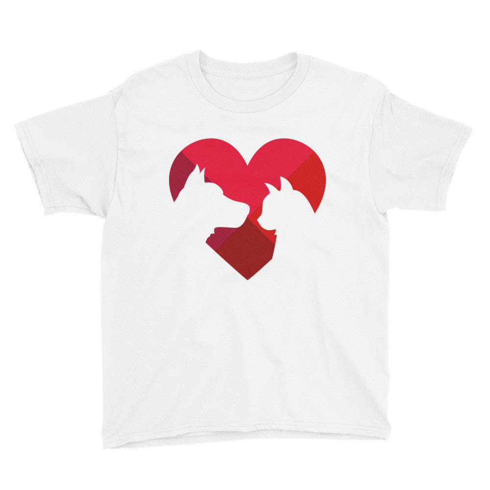 Animal lover heart youth short sleeve t-shirt