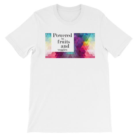 Powered by fruits and veggies square short unisex sleeve t-shirt VU