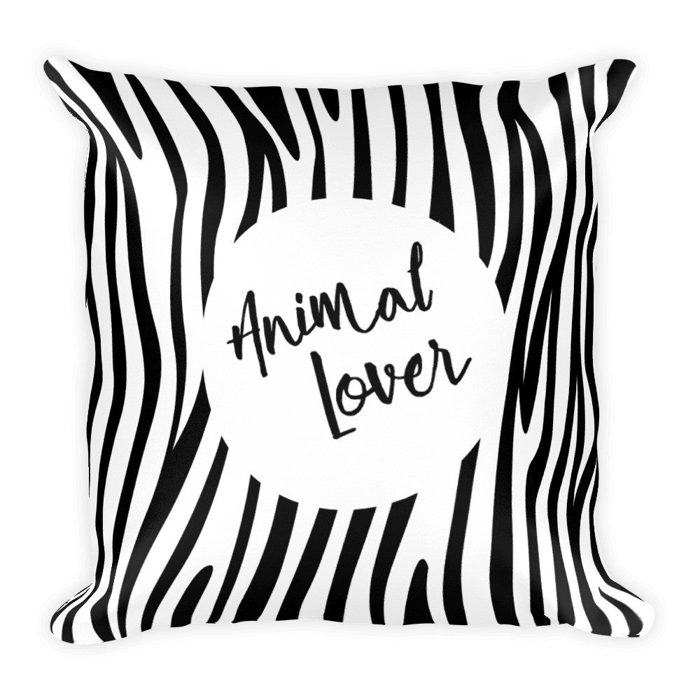Animal lover zebra print square pillow