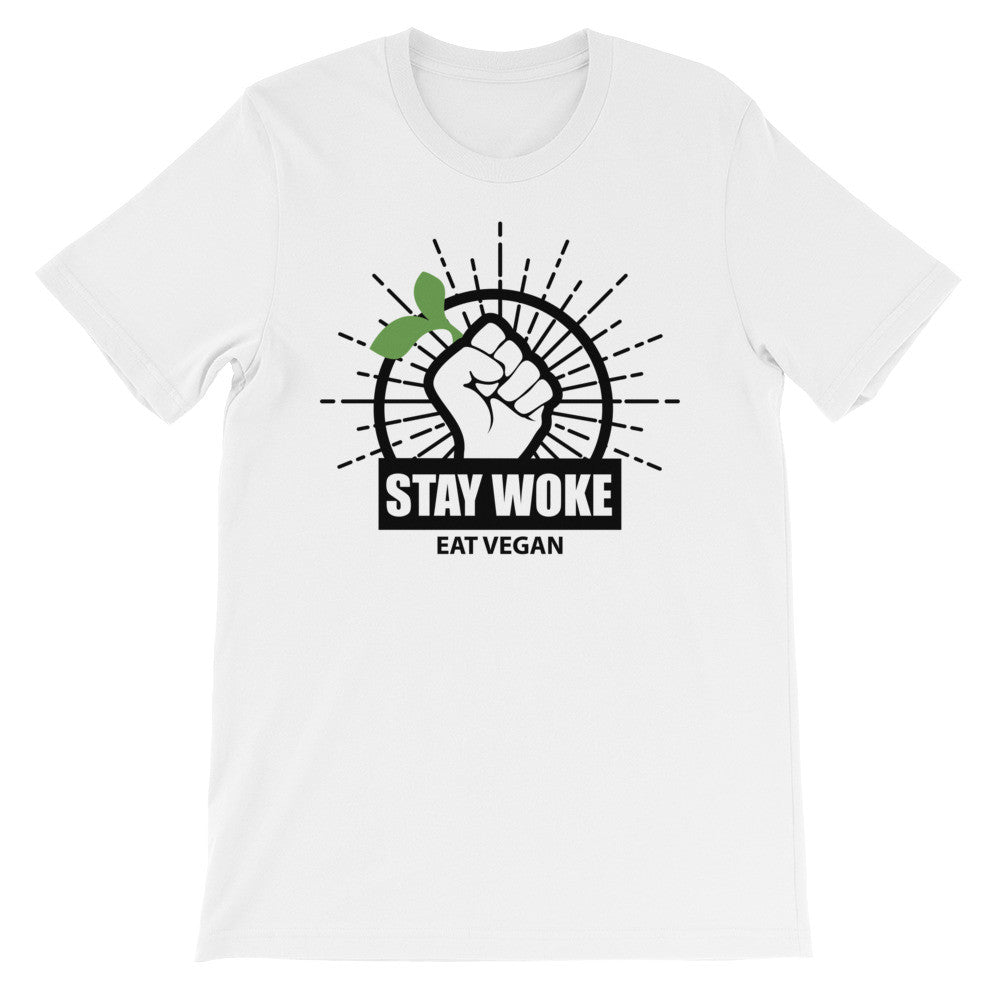Stay woke eat vegan short sleeve unisex t-shirt VU