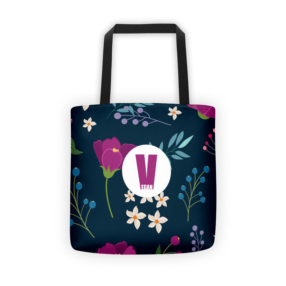 Vegan navy flower bag