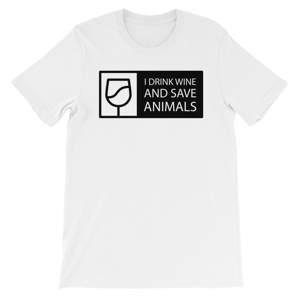 I drink wine and save animals short sleeve t-shirt AU