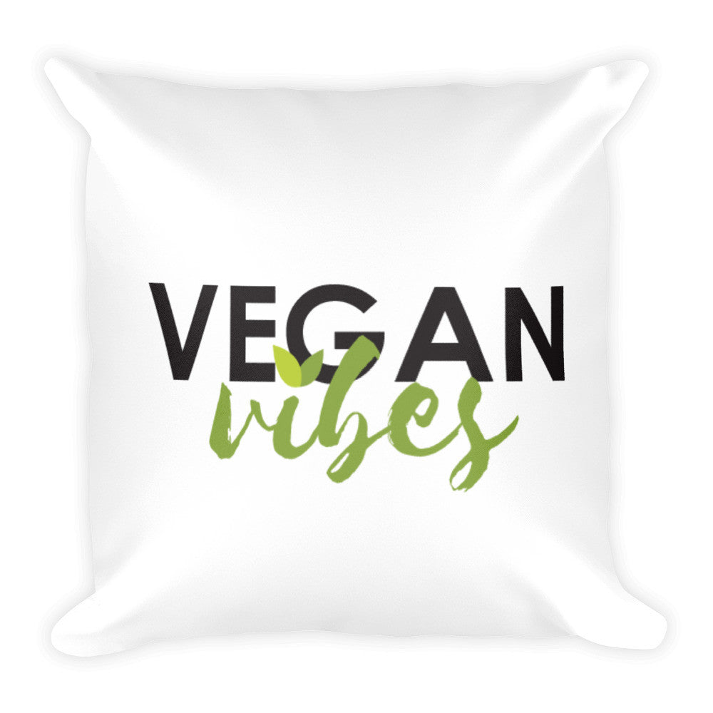 Vegan vibes square pillow