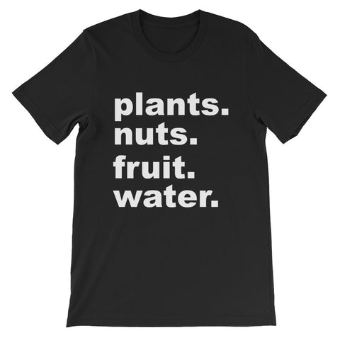 Plants nuts fruit and water short sleeve unisex t-shirt VU