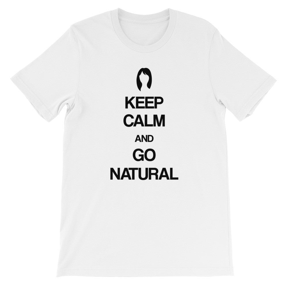 Keep calm and go natural (straight, semi-curly) short sleeve ladies t-shirt NF
