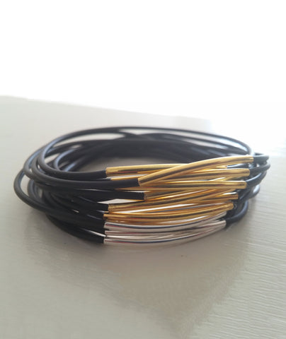Mini Sleek Black Vegan Leather Bangles (set of 3, 6, 9 or 12)
