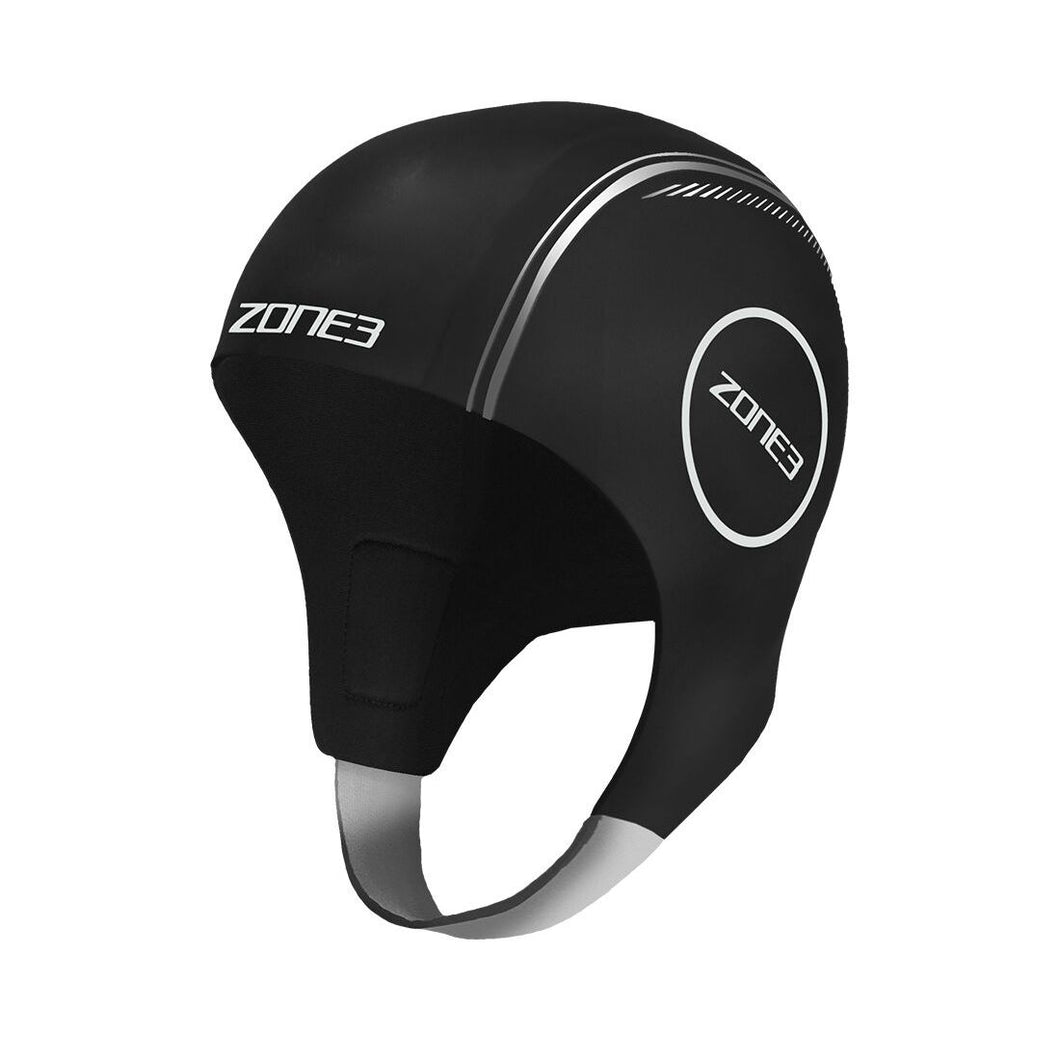 Zone3 Neoprene Swimming Cap- Black silver - Tri Wetsuit Hire