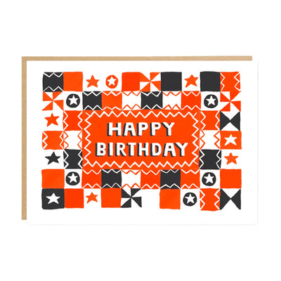 Folk Quilt Pattern Birthday Card