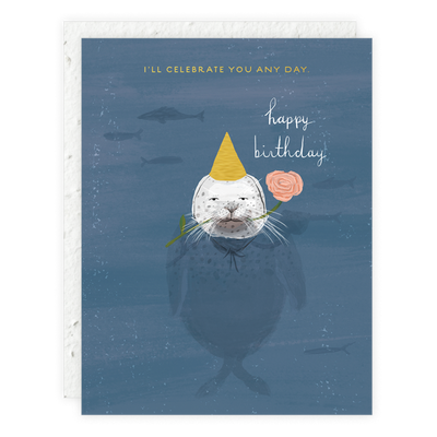 Seal Birthday Card Seedlings