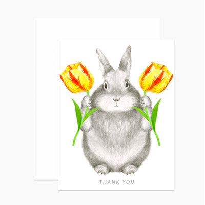 Bunny With Tulips Thank You Greeting Card
