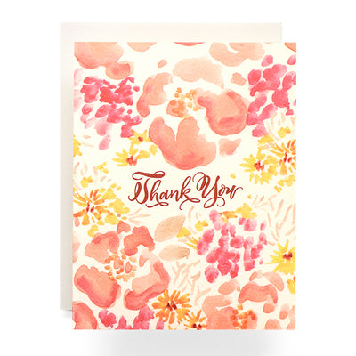 Coral Watercolor Poppies Thank You Card Antiquaria